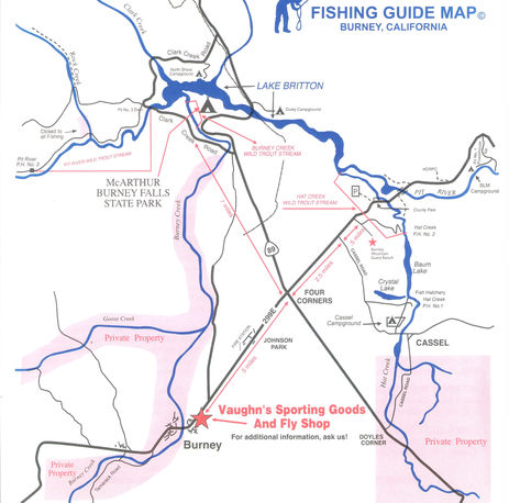Map of fishing locations in Burney