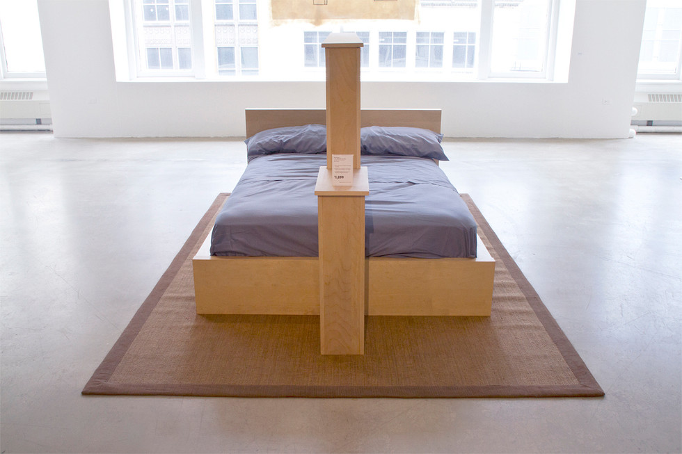 Bed frame with mirrored partition