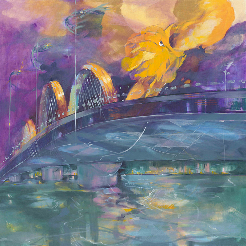 Dragon Bridge Night 48x48 Oil on Canvas.