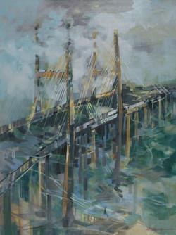 Savannah River Bridge Oil on Canvas 40 x 30