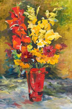 Gladiolas oil on linen 36 x 24 Sold