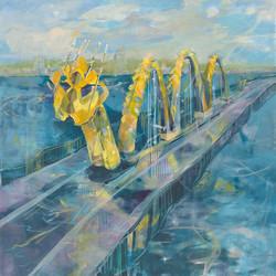 Dragon Bridge Day 48x48 Oil on Canvas