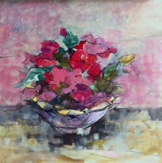 Camelias Oil on Canvas 24 x 24 Sold