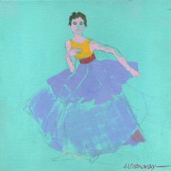 Turquoise Dancer Study Oil on Canvas 12 x 12