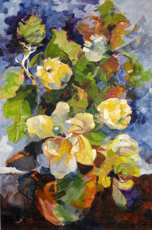 Magnolias Oil on Linen 36 x 24