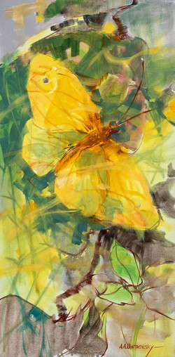 Yellow Butterfly 30 x 15 Oil on Canvas