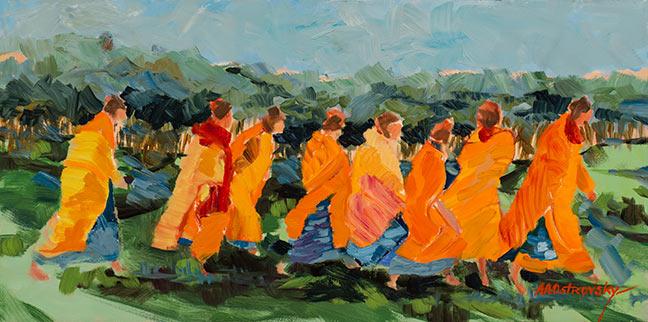 Women Walking Oil on Canvas 12 x 24 Sold