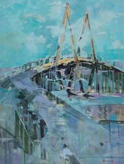 Cooper River Bridge Oil on Canvas 40 x 30