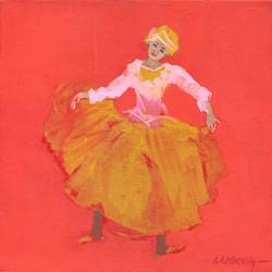 Red-Orange Dancer Study Oil on Canvas 12 x 12