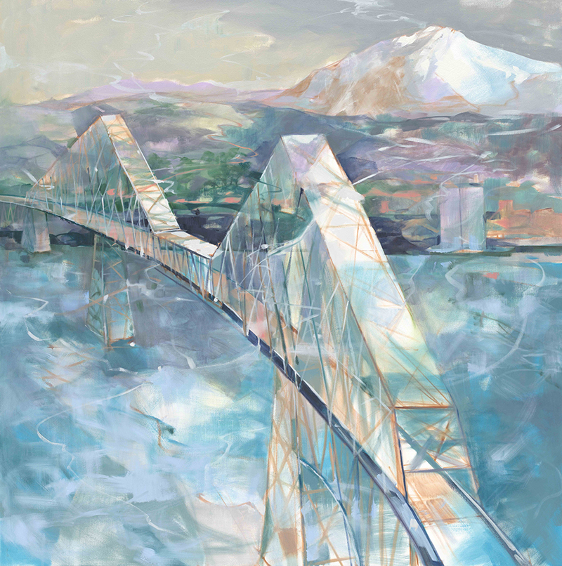 Lewis and Clark Bridge 48x48 Oil on Canv