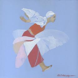 Light Blue Dancer Study Oil on Canvas 12 x 12
