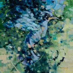 blue_hummingbird Oil on Canvas 24 X2 4 Sold