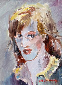 Self Portrat oil on board 9 x 12 Sold