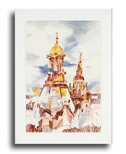 Sheffield Spires I pen & ink, colored pencils 23 x 17 Sold