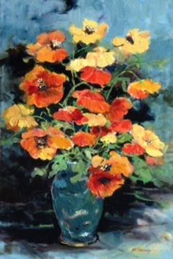 Poppies in Chinese Vase Oil on Canvas 36 x 24 Sold