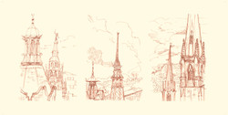 Sheffield  Spires Triptyche Pen & Ink, colored pencils 18 x 43 Sold