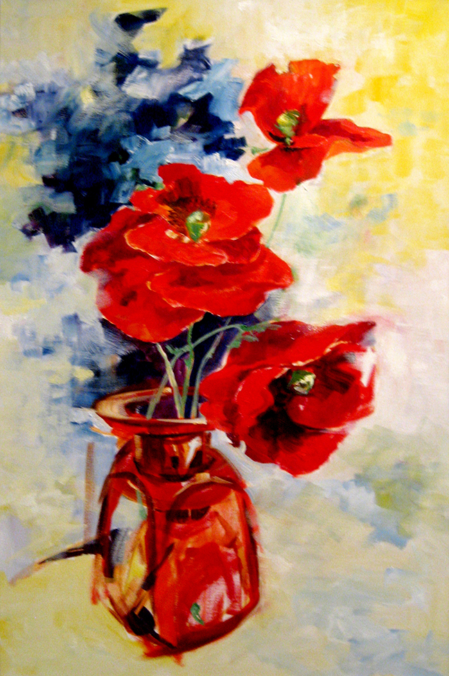 Poppies Oil on Linen 36 x 24 Sold
