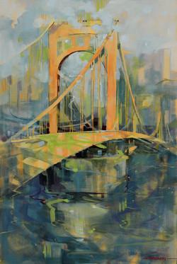 Roberto Clemente Bridge Oil on Canvas 36 x 24
