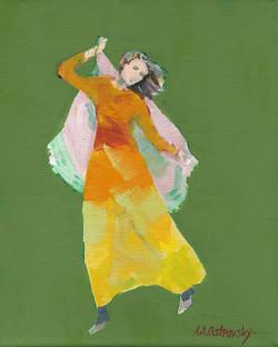 Green Dancer Study Oil on Canvas 12 x 9