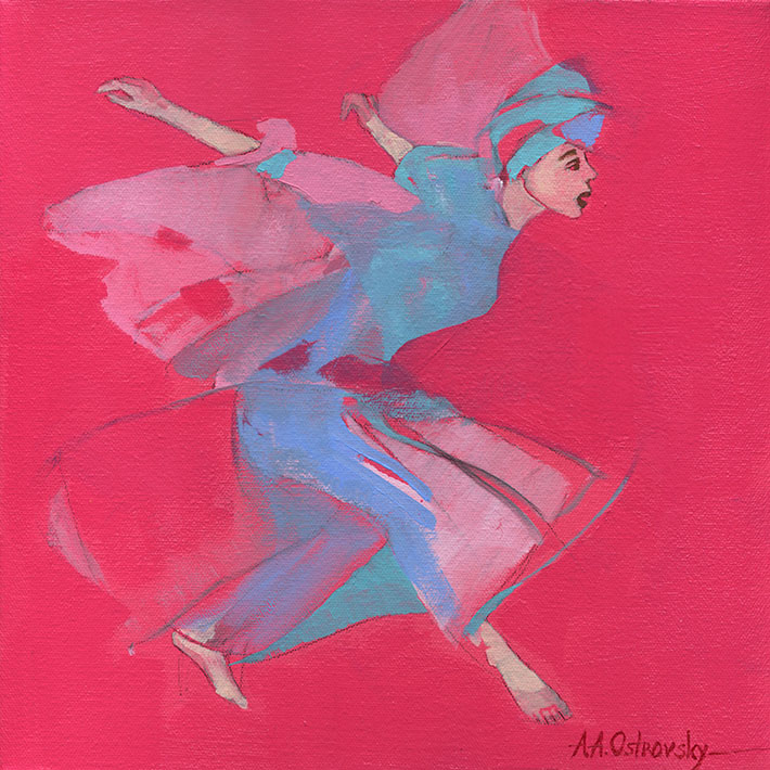 Red Dancer Study Oil on Canvas 12 x 12