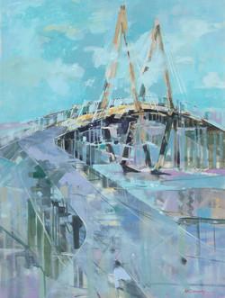 Cooper River Bridge 40x30 Oil on Canvas.
