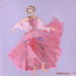 Pink Dancer Study Oil on Canvas 12 x 12