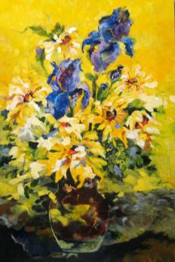 Sunflowers & Iris' Oil on Linen 36 x 24 Sold
