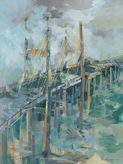 Savannah River Bridge 40x30 Oil on Canva