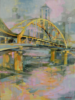Fort Duquesne Bridge Oil on Canvas 40 x 30