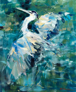 Blue Heron Oil on Birch Panel 24 x 20 Sold