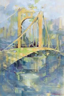 Roberto Clemente Bridge 36x24 Oil on Can