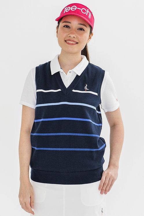 Tee-chi レディースニットベストシャツ <ボーダー><NAVY>