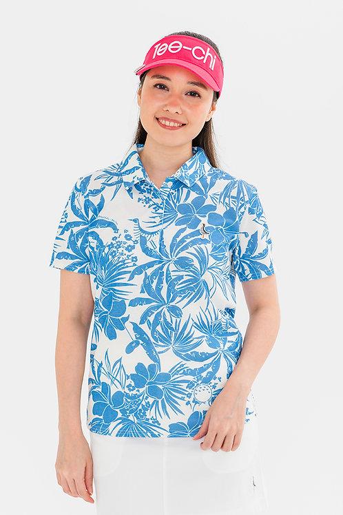 「Tee-chi」×「PAIKAJI」レディース/サンゴクロスポロシャツ【WHITE×BLUE】