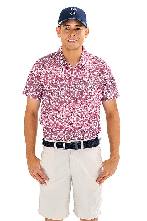 Tee-chi メンズポロシャツ<紅型><RED>