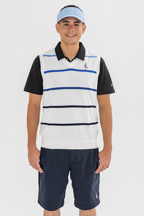 Tee-chi メンズニットベストシャツ <ボーダー><WHITE>