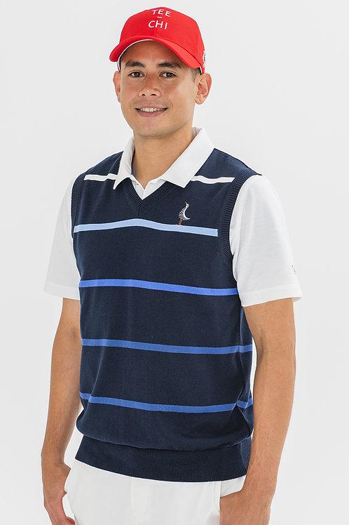 Tee-chi メンズニットベストシャツ <ボーダー><NAVY>