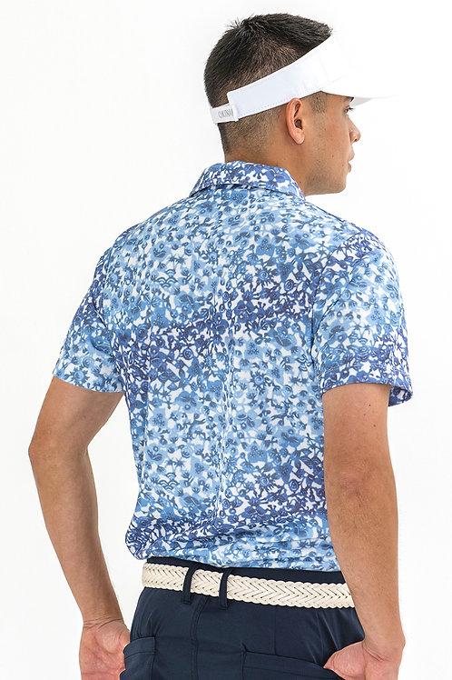 Tee-chi メンズポロシャツ<紅型><BLUE>