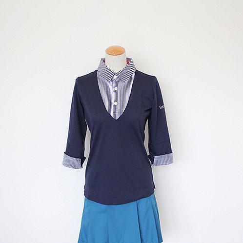 Tee-chi レディースポロシャツ(7分袖)<NAVY>