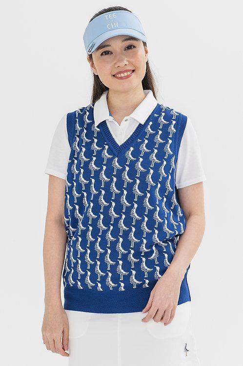 Tee-chi レディースニットベストシャツ <千鳥><NAVY>