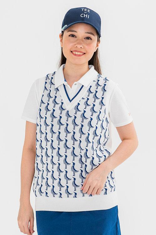 Tee-chi レディースニットベストシャツ <千鳥><WHITE>