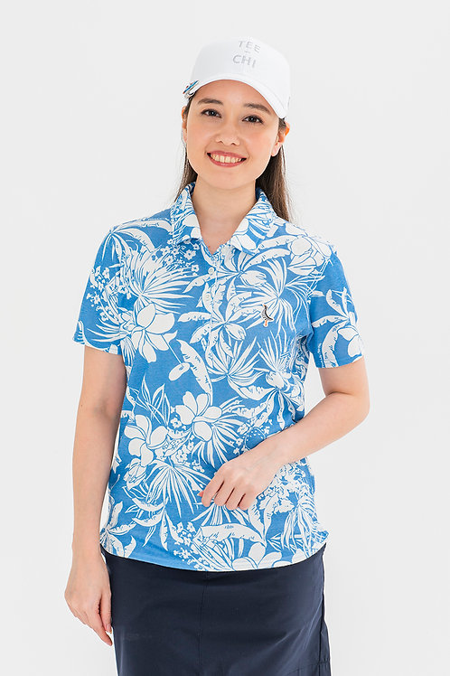 「Tee-chi」×「PAIKAJI」レディース/サンゴクロスポロシャツ【BLUE】