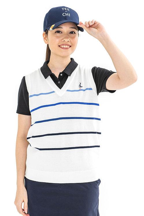Tee-chi レディースニットベストシャツ <ボーダー><WHITE>
