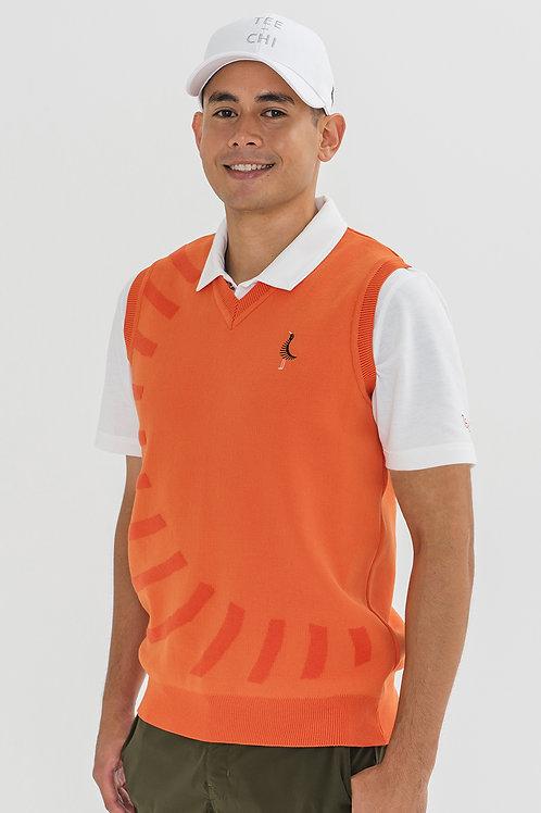 Tee-chi メンズニットベストシャツ <スラッシュ><ORANGE>