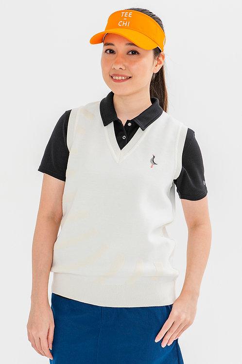 Tee-chiレディースニットベストシャツ <スラッシュ><WHITE>