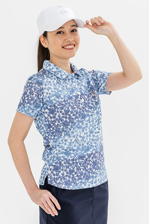 Tee-chi レディースポロシャツ <紅型><BLUE>