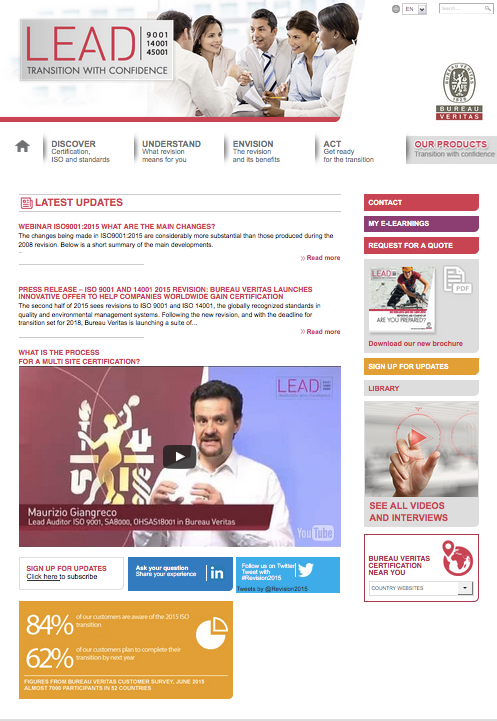Site web LEAD - Bureau Veritas