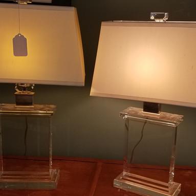 Restoration Hardware Lucite Lamps Lit.jp