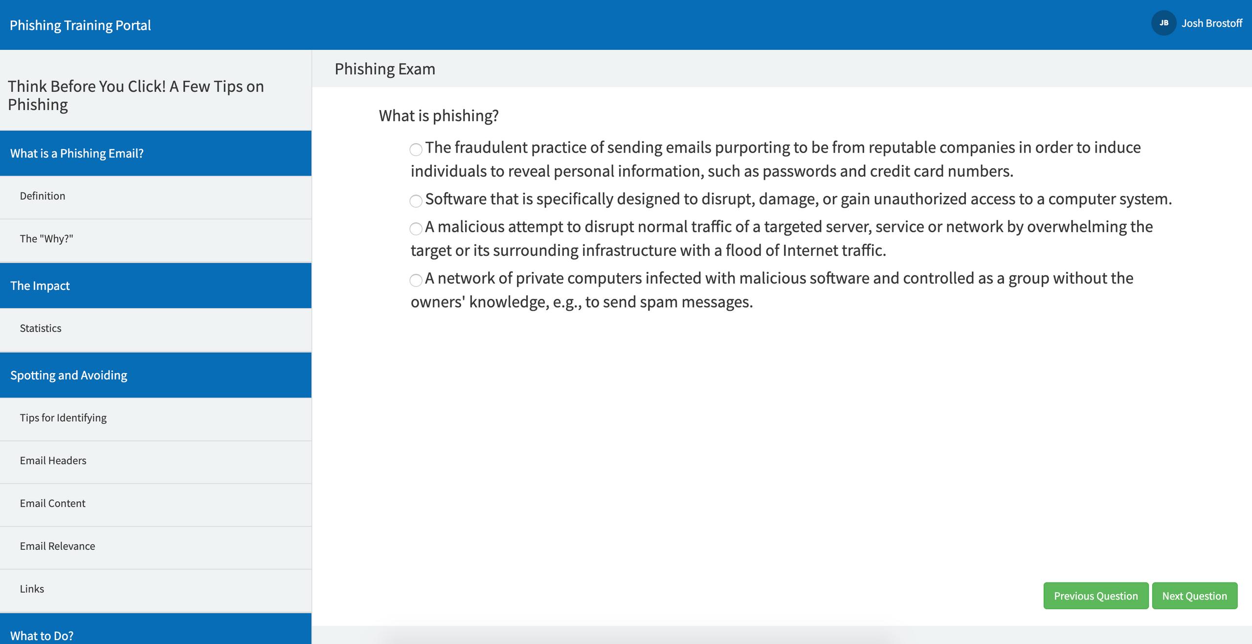 phishbait phishing exam servicenow