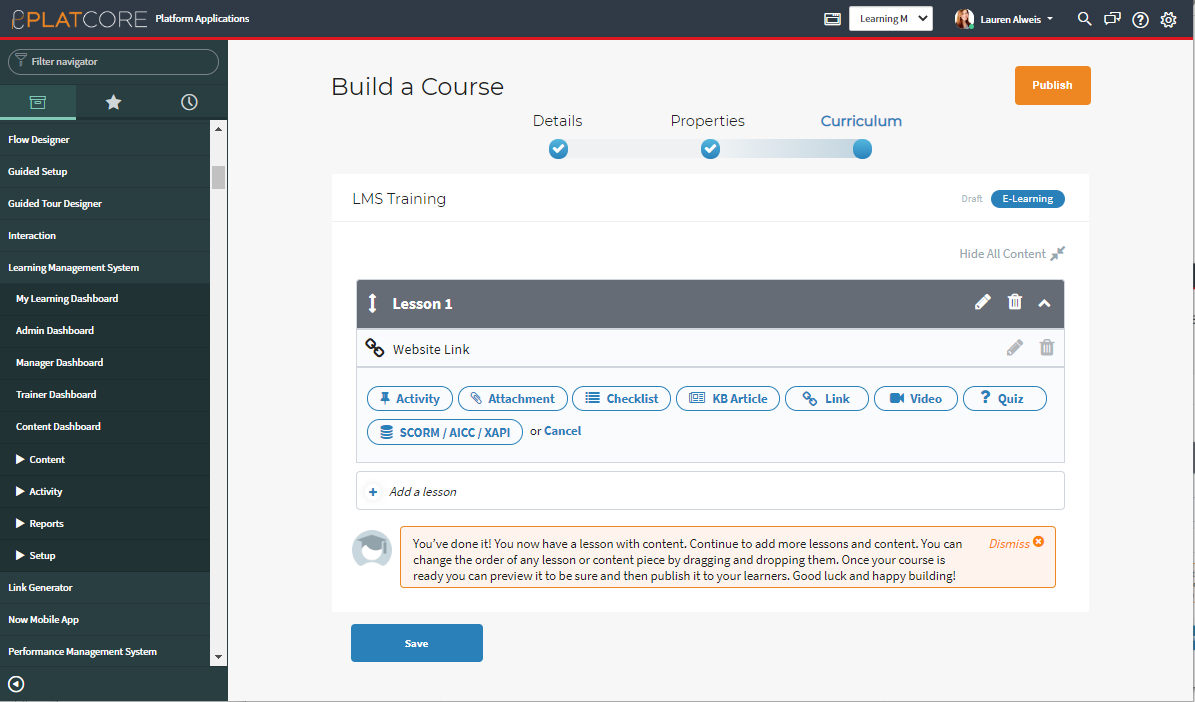 platcore learning management system build curriculum servicenow app