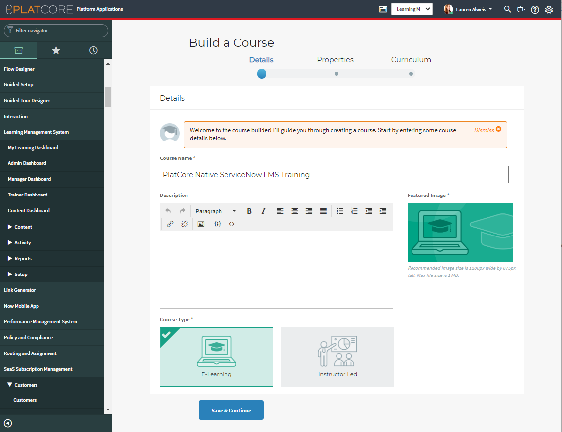 platcore learning management system build a course servicenow app